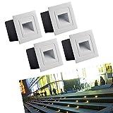 Midore 4 Stück Aluminium LED Wand Treppenlicht Wandeinbauleuchte Brick Downunder für die Ausleuchtung im Außenbereich 3 Watt IP65