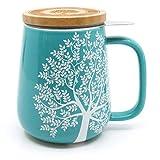 amapodo Teetasse mit Deckel und Sieb, XXL Tee Tassen aus Porzellan oder Glas, Edelstahl Teesieb für losen Tee, Bambus Deckel mit Sieb Untersetzer