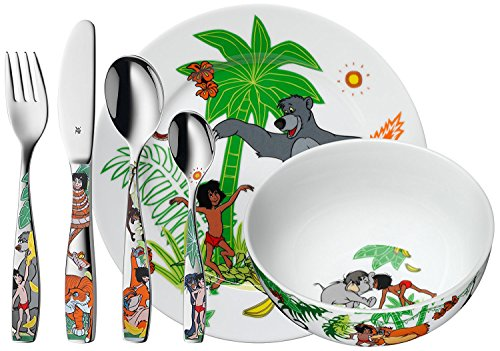 WMF Disney Dschungelbuch Kindergeschirr, mit Kinderbesteck, 6-teilig, ab 3 Jahren, Cromargan Edelstahl poliert, spülmaschinengeeignet, farb- und lebensmittelecht