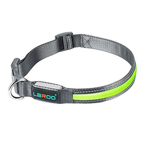Hunde Halsband, LaRoo Blinkender LED Hunde Halsband Sicherheits Hundehalsband Nylon Leuchtender Nacht Hundeband Leuchtendes Hellem Sicherheits Halsband für Hunde, Haustier - M( 40-50CM)