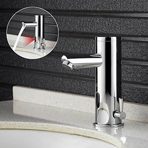 AuraLum IR Infrarot Automatik Waschbecken Armatur Kalt und Warmwasser Wasserhahn Automatik Waschtischbatterie für Waschbecken Handwaschbecken und Waschtisch in Chorm ?