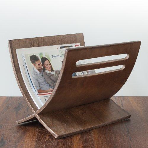 Homestyle4u 965 Mailand Zeitungsständer Magazinhalter Zeitschriftenablage aus Holz B 30 cm x H 29 cm x T 36 cm in Braun lackiert