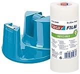 tesa Tischabroller, mit neuem Anti-Rutsch Boden, Modell 'Compact', blau, inkl. 6 Rollen tesafilm invisible, 33m:19mm