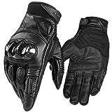 INBIKE Motorradhandschuhe Herren Motorrad handschuhe Ziegenhaut Touchscreen Atmungsaktivität Knöchelschutz Aufprallschutz für Motorrad Radfahren Camping Outdoor(Schwarz,L) IM808