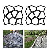 HG 2X D.I.Y Pflasterform Gehweg Betonpflaster Gießform Garten Schablone mit 9 Kammer 43 x 43 x 4cm