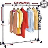 Tatkraft New York Stabiler Rollbarer Kleiderständer aus Edelstahl Ausziehbar Breite und Höhe