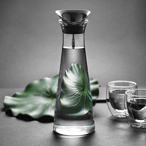 Glastal 1L Glaskaraffe Glaskrug aus Borosilikatglas Wasserkrug mit Edelstahl Deckel Karaffe Glaskanne 11 * 30cm Weihnachtsgeschenk (MEHRWEG)