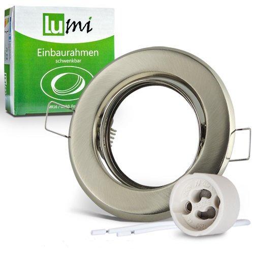 12x Lu-Mi Einbaurahmen Einbaustrahler 'Edelstahl gebürstet' inkl. GU10 Fassung, schwenkbar