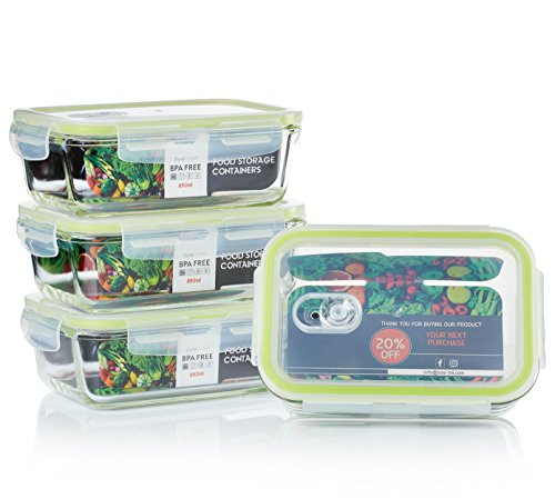Zoë&Mii 8-Teiliges Set 850ml Lebensmittelbehälter aus Glas - Brotzeitboxen, Smart-Lock-Deckel, Luftdicht, Glasbehalter,Frischhaltedosen, Luftdicht - GlasBehälter, Vorratsdosen, BPA-Frei