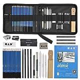 35 Stück Bleistifte Professionelle Skizzierstifte Set Skizzieren Zeichnen Bleistifte Profi Art Set für Künstler Anfänger Schüler und Kit Tasche (35 Stück)