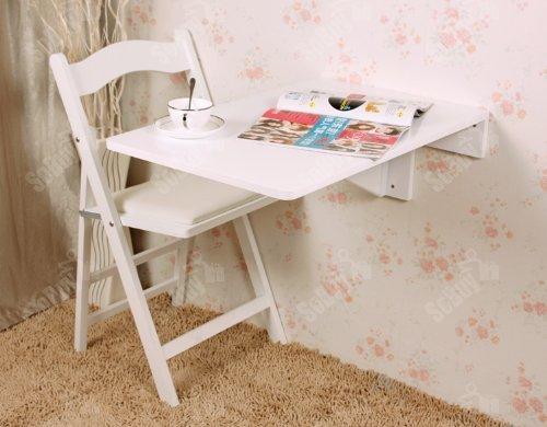 SoBuy Wandklapptisch, Küchentisch, Kindermöbel, Wandtisch, Esstisch, Schreibtisch 70x45cm FWT04-W (Weiß)