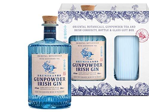 Gunpowder Irish Gin mit Geschenkverpackung und Gin Glas (1 x 0,5l)