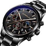 Casual Herren Quarz Analog Uhren Sport Chronograph Wasserdichte Edelstahl Armbanduhr für Männer Business Kleid Tag 12/24 Stunden Uhr