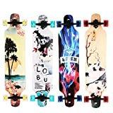 WeSkate Longboard Komplettboard mit ABEC-11 Kugellagern, Drop-Through Street Freeride Skaten Cruiser Boards, 104x24cm