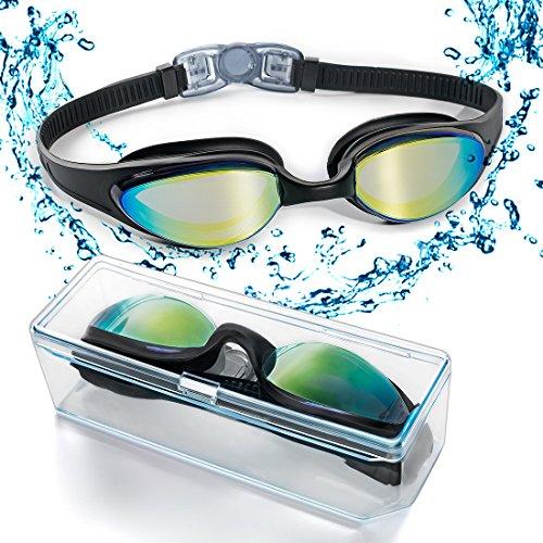 Schwimmbrille Verbesserte 2018 VERSION, Schwimmbrille mit flexiblem weichen Nasenstück und farbiger Spiegellinse, dicht und geschützt vor beschlagen und UV Licht Triathlon Schwimmbrille für Erwachsene Männer Frauen Jugendliche Kinder