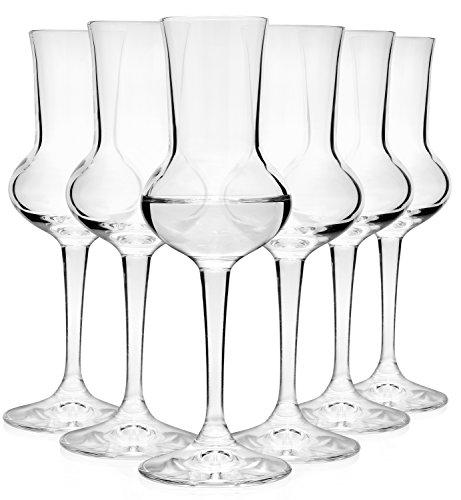 Bormioli Grappaglas Set 6 teilig | Füllmenge 75 ml | Gesamthöhe des Glases 16,5 cm | Stiellänge 5,8 cm | Klassiches Grappaglas für das berühmte Italienische Getränk
