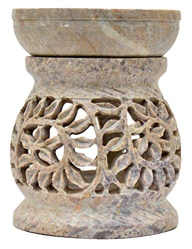 Artist Haat Duftlampe 11cm Pflanzenranke Schlingpflanze bauchförmig Speckstein Duftstövchen Wohnaccessoires Deko Raumduft