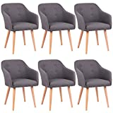 Kingpower 2/4/6/8 Set Stühle Esszimmerstühle Stuhl Sessel Armlehne Versch. Farben, Auswahl:6 Sessel - Dunkelgrau