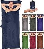 Leichter Hüttenschlafsack für kleines Packmaß! Fit-Flip Mikrofaser Schlafsack Inlay mit extra Kissenfach. Seidig weicher Reiseschlafsack, Innenschlafsack dünn, leicht, klein, kompakt