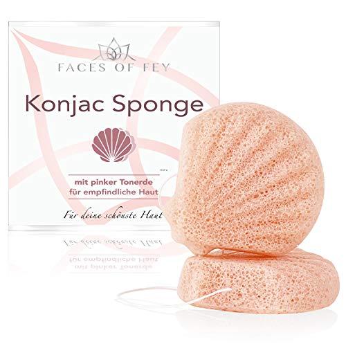 FACES OF FEY Konjac Schwamm für Körper und Gesicht mit rosa Tonerde für unreine und trockene Haut
