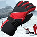 Snowboardhandschuhe - Wasserdichte und winddichte Schneehandschuhe für Skifahren, Snowboarden, Schaufeln für Männer und Frauen,Sicherheitsschutz (Color : Red)