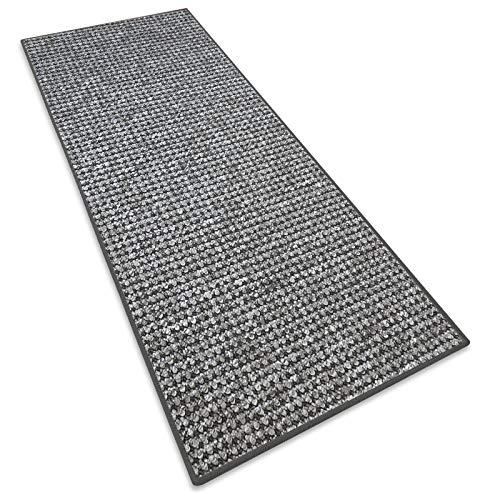 Teppichläufer Grandeur |Teppichläufer Meterware |für Wohnzimmer, Flur, Büro, Schlafzimmer, Küche, Esszimmer | gekettelt | mit Stufenmatten Kombinierbar | Viele Farben | Viele Größen (Grau, 50x250 cm)
