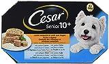 Cesar Hundefutter Senior 10+, Hochwertige Hundenahrung mit ausgesuchten Zutaten, Variation in 4 Sorten (Lamm, Huhn, Rind und Kalb) mit Gemüse oder Reis in Gelee, 24 Schalen (6x4x150g)