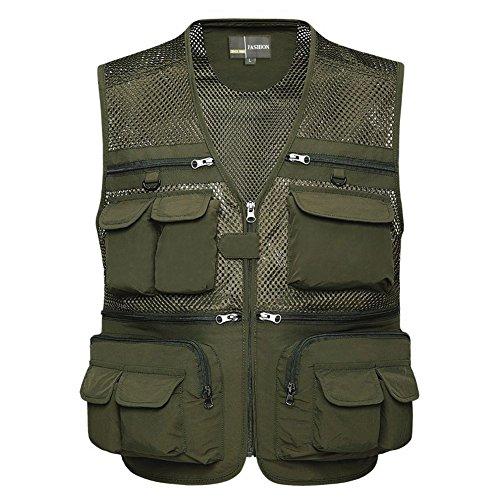 Zicac Herren Outdoor Weste, Breathable Multi-Tasche Reißverschluss Netz Weste Angeln Vest für Jagd Angeln Camping