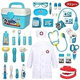 Buyger 32 Teile Arztkoffer Medizinisches Doktor Arztkittel Rollenspiel Spielzeug Geschenke Kinder(Blau)
