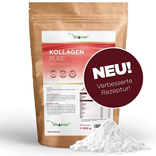 Vit4ever Kollagen Pulver - 600 g - Einführungspreis - Collagen Hydrolysat ohne Zusätze - Laborgeprüft - Geschmacksneutral - Eiweiß-Pulver – Kollagen Peptide Typ 1 2 3 - Protein Lift Drink
