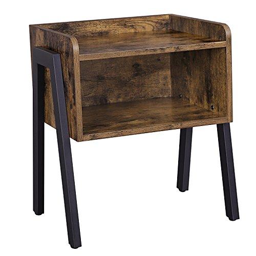 SONGMICS Nachttisch, stapelbarer Beistelltisch, Sofatisch mit Offenem Fach, Retro Rustikale Holzoptik, Akzentmöbel mit Metallbeinen, Vintage, LET54X