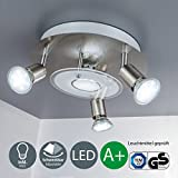 LED Deckenleuchte I Deckenlampe inkl. 4 x 3 W Leuchtmittel I GU10 Lampenfassung I moderner Deckenstrahler I 3 schwenkbare Licht-Spots I 4 flammige Wohnzimmer-Lampe I rund I Edelstahl Optik I 230 V I IP20