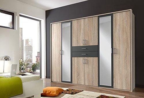 lifestyle4living Kleiderschrank in Eiche-Sägerau Dekor und Absetzungen in Graphit mit Spiegel | Drehtüren-Schrank bietet mit 8 Türen und 2 Schubladen viel Platz