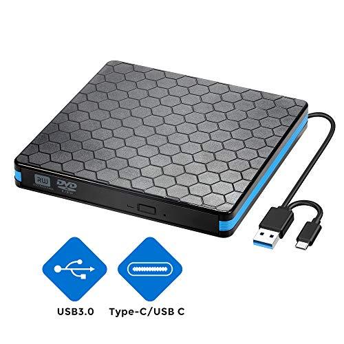 Externes CD/DVD Laufwerk Brenner USB 3.0 und Typ-C-Schnittstelle, Tragabar Externe DVD-RW DVD/CD,kompatibel mit Win10 /8/7/XP,Laptop,Mac/MacBook Air/Pro/iMac/PC