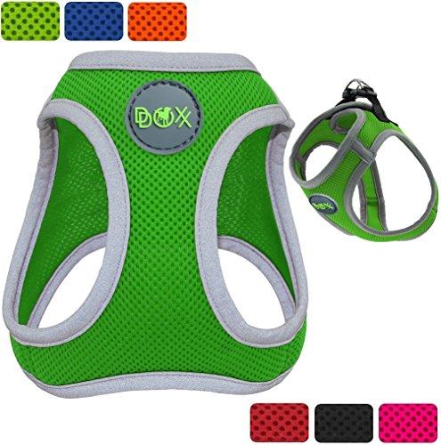 DDOXX Hundegeschirr reflektierend aus Air Mesh   für große, mittelgroße, mittlere & kleine Hunde   Hunde-Geschirr   Brustgeschirr   Softgeschirr   Step-In   Grün, Größe A (XS