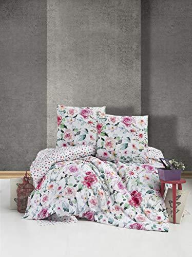 ZIRVEHOME Bettwäsche 200x220 cm. 2 Kopfkissenbezüge 80x80 cm. Blumen Muster, 100% Baumwolle/Renforcé, Reißverschluss Model: Ruze