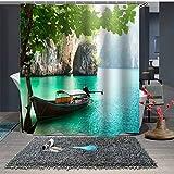 DECMAY Anti-schimmel Duschvorhang 180x180cm Wasserdicht Anti-Bakteriell Duschvorhang Badvorhang 3D Digitaldruck für Badezimmer mit 12 Duschvorhangringe Boot in Landschaft
