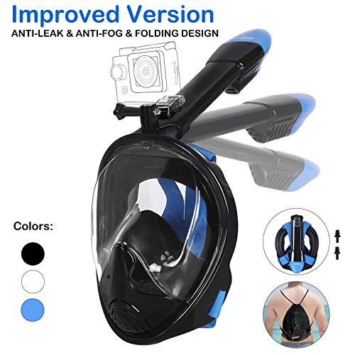 Unigear Tauchmaske, Faltbare Schnorchelmaske Tauchermaske Vollgesichtsmaske, mit 180 Grad Blickfeld und Kamerahaltung, Anti-Fog Anti-Leck Easybreath, für Erwachsene und Kinder