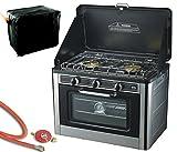 Gaskocher 2 flammig Campingkocher mit Gas Backofen mit Deckel Ofen Gasgrill Gasherd inkl. Gasschlauch-Regler Set