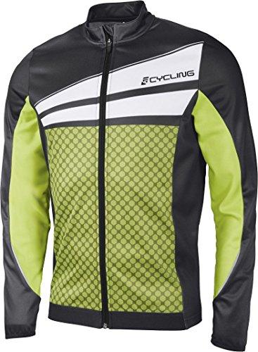 CRIVIT Herren Fahrradshirt 'Cycling', langarm (Gr. M 48/50, schwarz/weiß/lime)