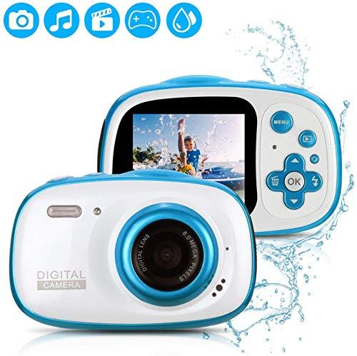 Fascol Kinderkamera Wasserdichte Digitale Kamera für Kinder Videokamera mit 32GB TF-Karte /HD 1080/ 8 Megapixel/ 2-Zoll-LCD, Blau