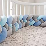 Bettumrandung,Baby Nestchen Kinderbett Stoßstange Weben Krippe Stoßfänger Kantenschutz Kopfschutzfür Babybett Bettausstattung (Color : M-white+white+d-gray+gr, Size : 220CM)