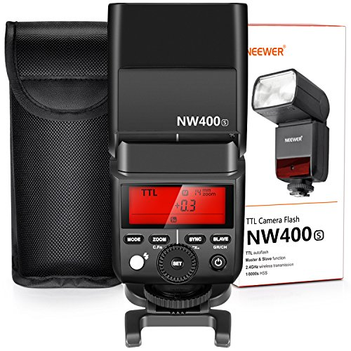 Neewer 2,4G HSS 1/8000s TTL GN36Wireless Master Slave-Blitz Speedlite für Sony A7A7R A7S a7II a7rii a7sii A6000A6300A6500A77II A58A99RX10Kameras mit hartem Diffusor (nw400s)