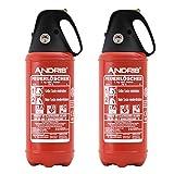 2X 2kg Auto Feuerlöscher ABC Pulverlöscher sehr handlich mit schwarzer Kappe KFZ Halter, ISO Symbolschild + Prüfnachweis Orig. ANDRIS