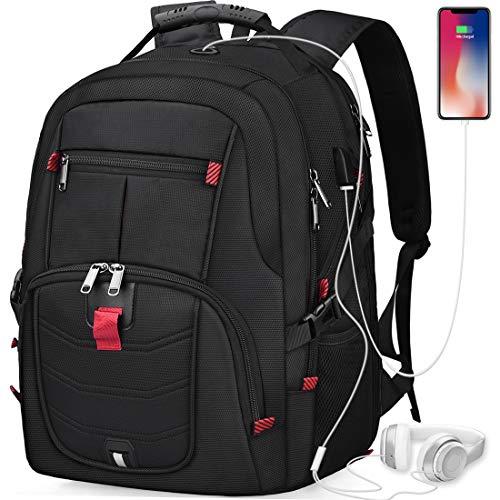 NUBILY Laptop Notebook Rucksack 17 Zoll Mit USB Wasserdicht Grosser Business Arbeit Rucksack Taschen 17,3 Zoll Schulrucksack Backpack Daypack Für Herren Jungen Teenager Männer Schwarz