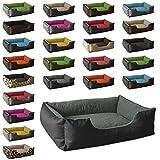 BedDog Hundebett LUPI / Hundesofa aus Cordura & Microfaser-Velours / waschbares Hundebett mit Rand / Hundekissen vier-eckig / für drinnen & draußen / L / THE-ROCK / schwarz-grau