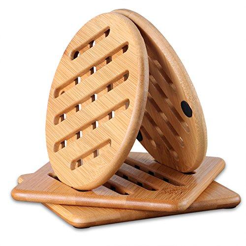 Conisy Tischset Hitzebeständig, Natur waschbar Untersetzer Bambus für Küche Schüssel Töpfe Pfannen und Teller - 4er Set Topfuntersetzer