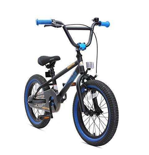 Bikestar Freestyle Sicherheits Kinderfahrrad 16 Zoll für Mädchen und Jungen ab 4-5 Jahre  16er Kinderrad Kinder BMX  Fahrrad für Kinder Schwarz & Blau
