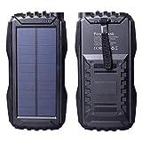 Friengood Solar-Ladegerät 25000 mAh, tragbare Solar-Powerbank mit Dual-USB-Port, Solar-Handy-Ladegerät mit LED-Taschenlampe für iPhone, iPad, Android-Handys und mehr (schwarz)