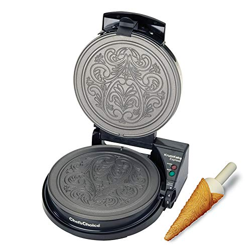 Chef'sChoice 839 KrumKake Express Krumkake Cookie Maker mit Color Select Schnellbacken Sofortige Temperaturerholung schnelle Backen leicht zu reinigen mit Überlaufkanal inkl. Kegelwalze schwarz